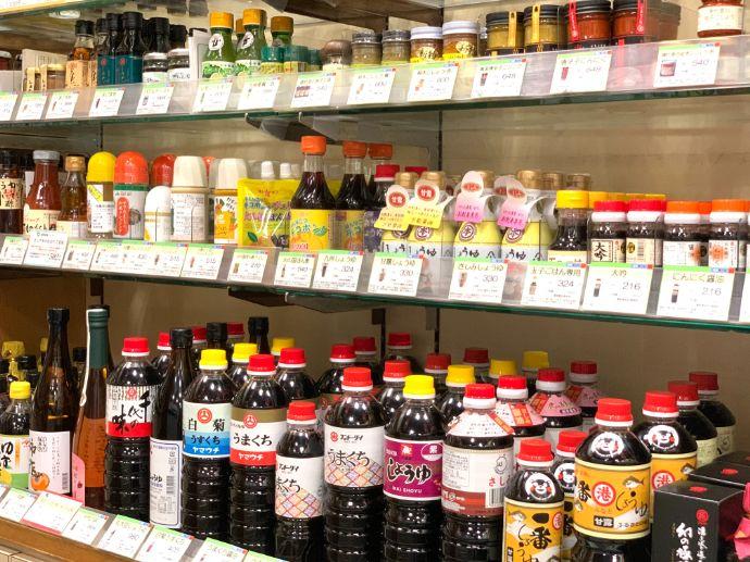 銀座熊本館の醤油コーナー