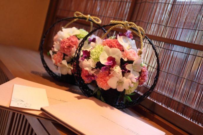料亭玉家のウェディングプランで花の装飾