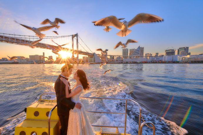 東京ウォータータクシーとコラボしたトーキョーウォーターウェディングプランの写真