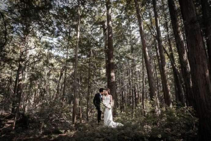 森の中でキスする新郎新婦