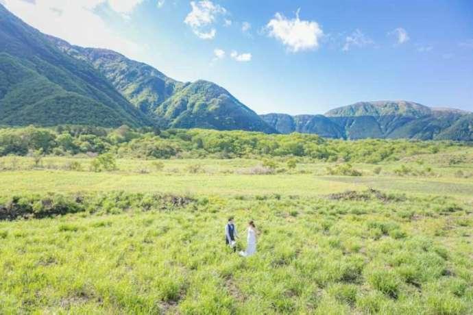 青空と緑に囲まれた大自然の中で撮影されたフォトウェディング