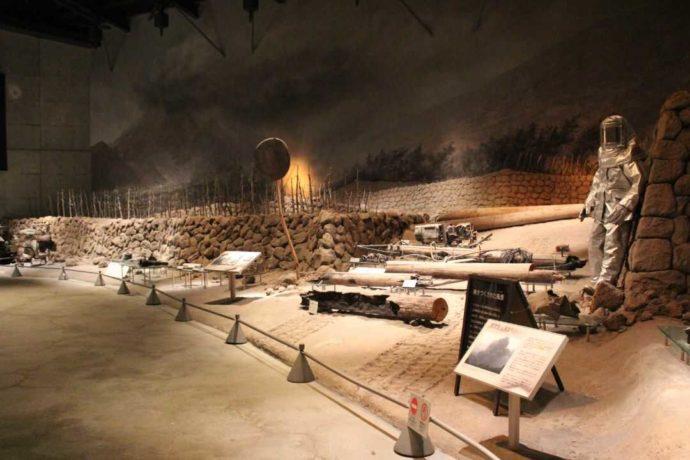 平成大噴火シアターの出口にある「焼き尽くされた風景」