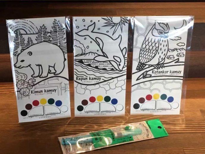 ウエネウサルみどりのツアーで体験できるアイヌ野生動物塗り絵