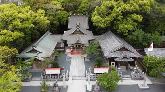 上空から見た宇原神社の全景
