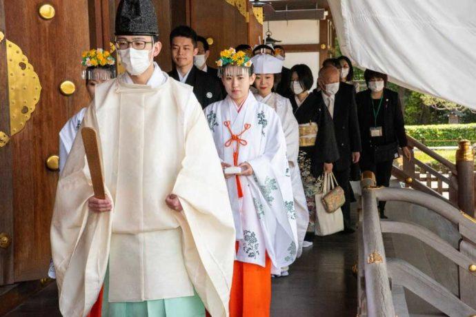 ウェディング絆の神前結婚式の様子