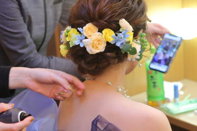 ラ・ヴィータウエディング提携店の美容師によるヘアメイク