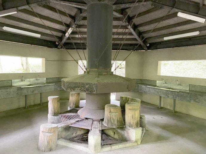 村営山中湖キャンプ場の炊事場の様子
