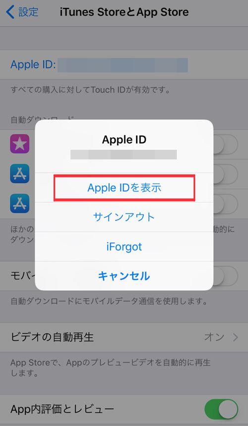タップル誕生の退会方法_自動更新停止iPhoneの場合_Apple IDを表示