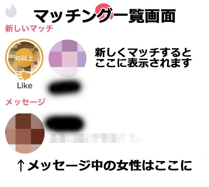Tinderのマッチ一覧画面