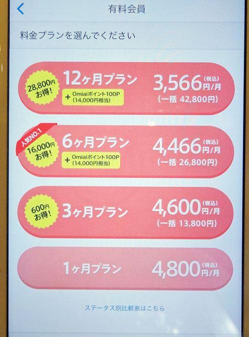 Omiai有料会員の料金表