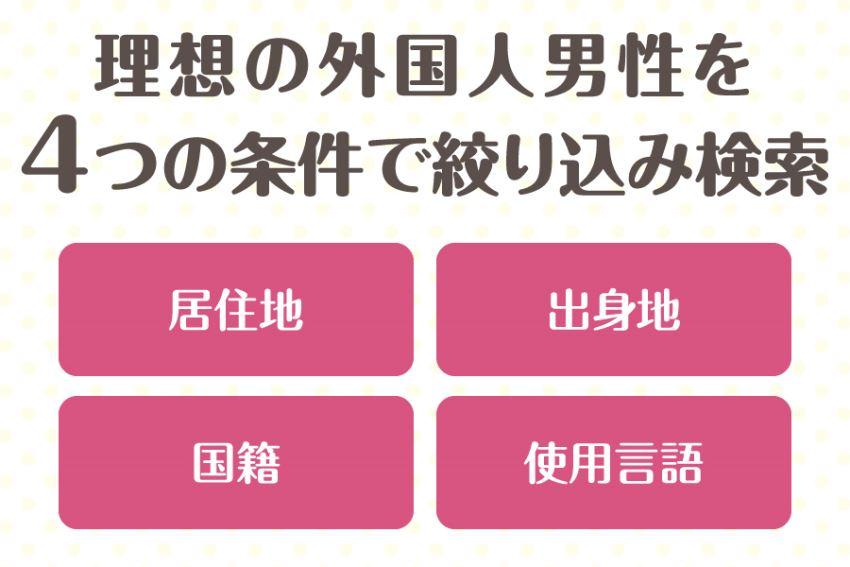 理想の外国人男性を4つの条件で絞り込み検索