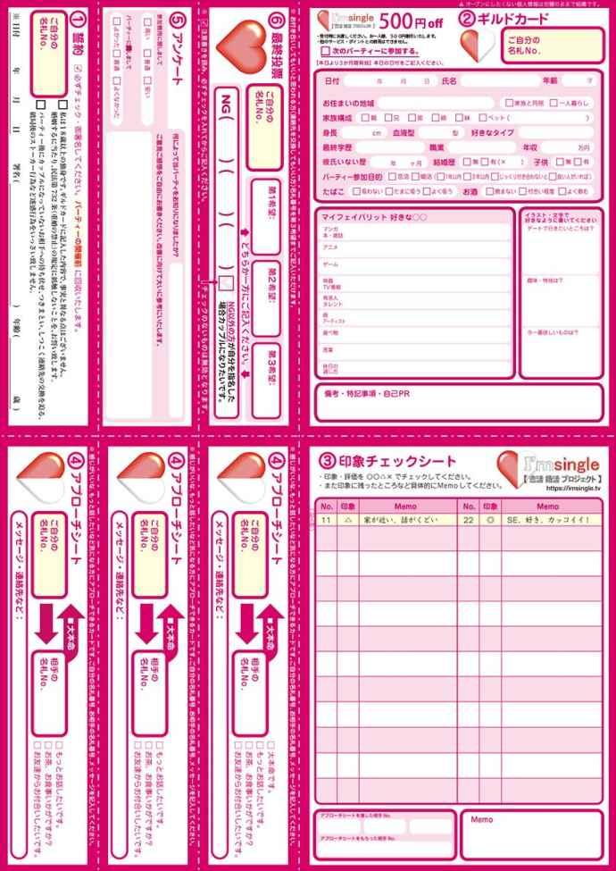 アイムシングルのプロフィールカードであるギルドカード