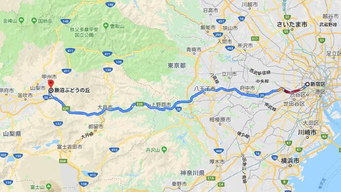 ワイナリーデートの舞台甲州市勝沼までの新宿からのアクセス