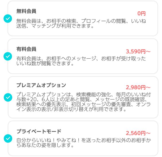 【男性】ペアーズの料金