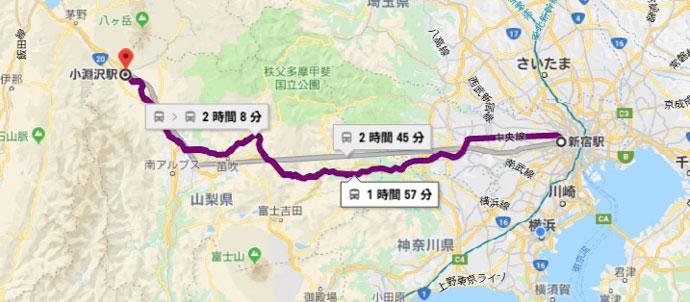 新宿から小淵沢駅までの移動距離と時間